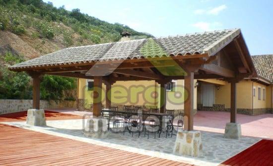 Cenador 2 aguas con cubierta de teja
